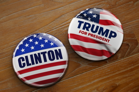 Illustration of presidential campaign buttons