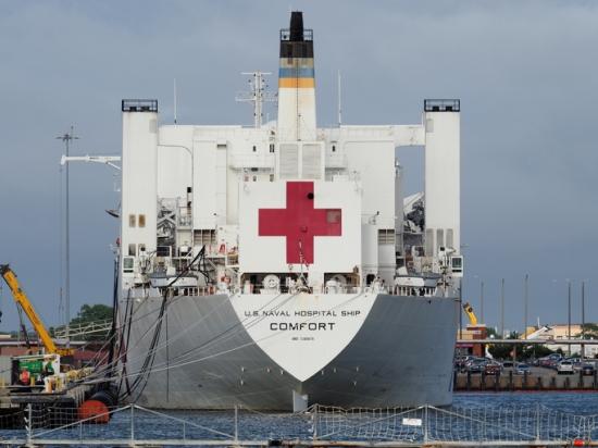 U.S. naval hospital ship Comfort.